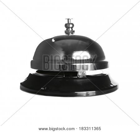 Silver service bell isolated on white