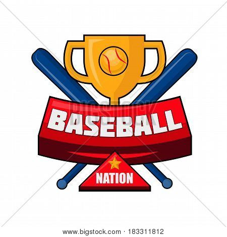 Vector illustration of the cup and two crossed bats with baseball nation text.