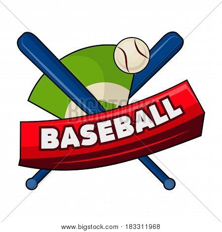 Vector illustration of the crossed bats and a ball with baseball word symbol.