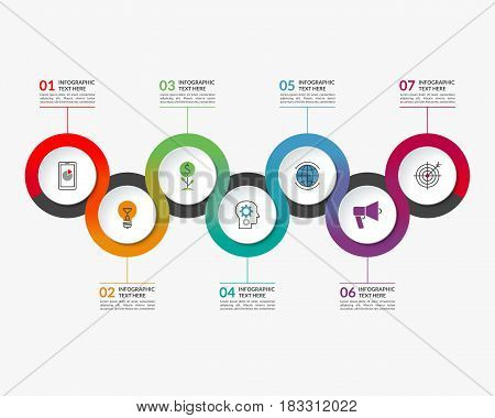 Infographic timeline template of 7 circular elements. Can be used for chart, graph, workflow layout, step by step infographics