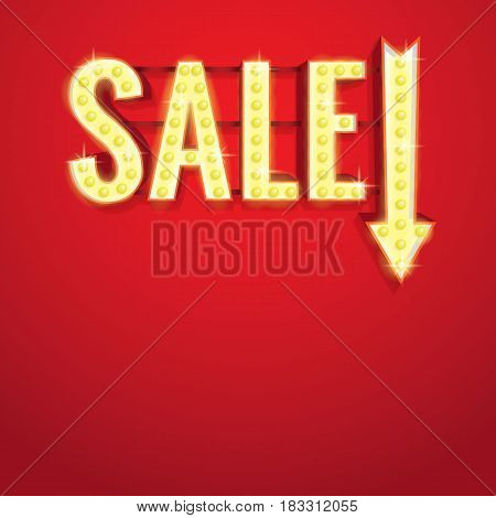 Light Neon Sale Sign Heading  Design For Banner Or Poster. Sale And Discounts. Vector Illustration