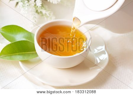 Close up pouring hot black tea in a white tea cup Tea ceremony time concept