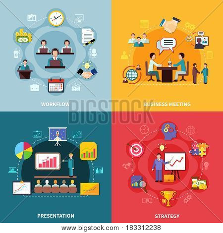 Business design concept with four square compositions of time management icons diagrams and goal achievement images vector illustration