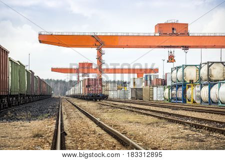 Huge Industrial Overhead Crane And Railway