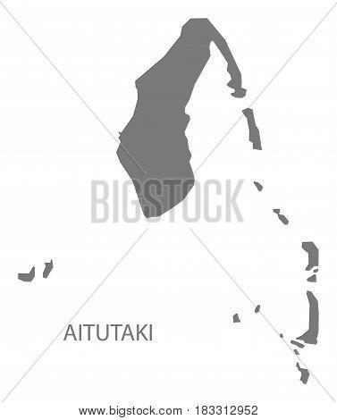 Aitutaki Cook Islands Map Grey Illustration Silhouette