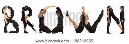 Black Dressed People Forming Word Brown