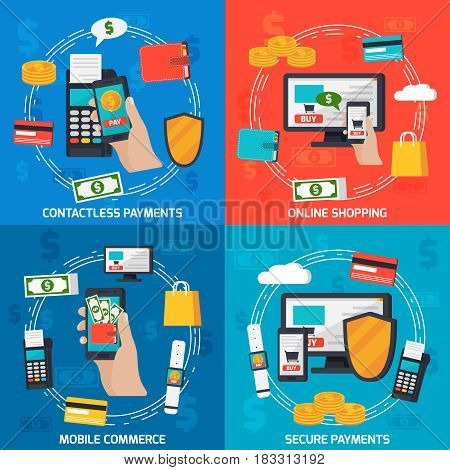 Mobile commerce orthogonal 2x2 colorful composition with flat images of payment terminal credit card and smartphone vector illustration