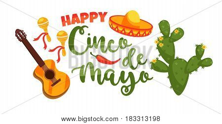 Cinco de Mayo. Vector illustration with traditional Mexican symbols. Design element for poster, banner, flyer, card.