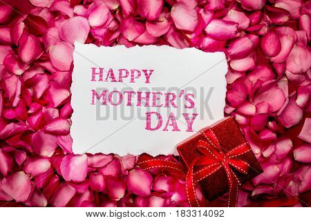 Happy Mother's Day paper card with sweet pink roses petal and red gift box Love on Mother's day card concept