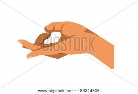 Vector illustration of a hand showing OK gesture isolated on white.