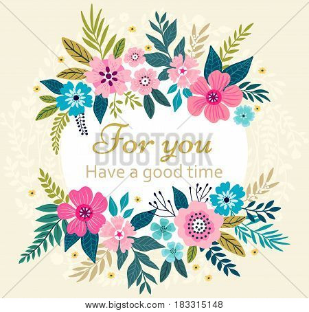 Floral wreath on white background. Bright colorful spring flowers. Vector floral frame template. Cute retro flowers arranged in the shape of a wreath is perfect for invitations and greeting cards