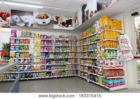 ROME, ITALY. March 26, 2014: Pet food store inside a new market (M.A. Supermarket) opening in Rome, Italy.