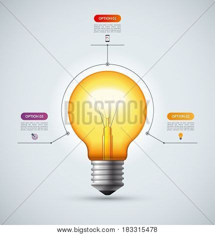 Lightbulb infographic template with 3 options. Creative idea concept. Can be used for circular chart, cycle diagram, graph, workflow layout, web design. Vector background