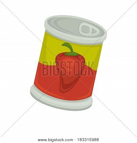Vector illustration of red peppers marinated in the tin.