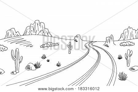 Prairie road graphic black white landscape sketch illustration vector