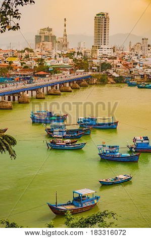 Vietnam. Nha Trang. Cham towers. View of the river Kai and the city