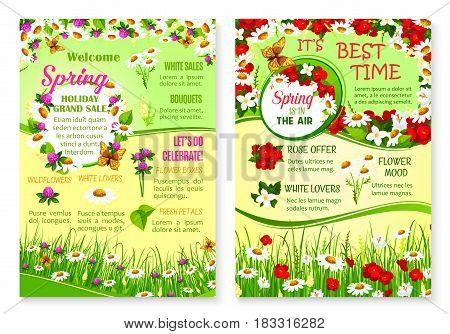 Grand Spring Sale vector posters for springtime discount offer on flowers bouquets. Floral and blooming nature design of poppy and daisy or chamomile blossoms and clover petals on spring grass field