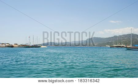 Recreational tourist ships in the Mediterranean Sea in one of the resorts in Turkey