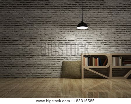 Ceiling Lamp With Bookcase On Wooden Floor Bricks Wall