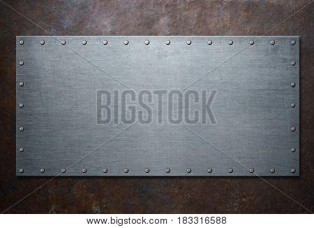 old steel frame on rust metal background 3d illustration