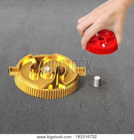 Hand Holding Gear To Combine With Currency Symbol Gear