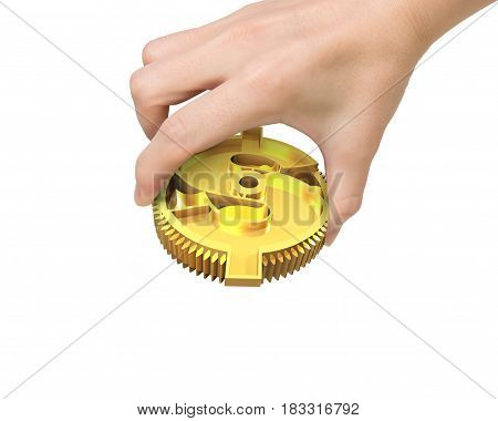Hand Holding Golden Gear With Currency Symbol