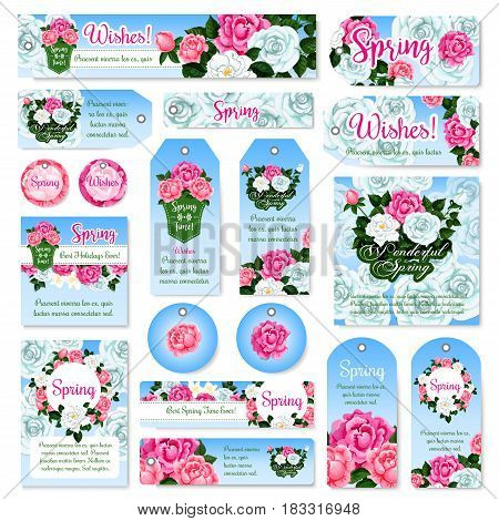Spring rose flower tag and label set. Spring flower bouquet and frame border of pink and white roses, peony and crocus with green leaf and floral bud. Springtime holidays greeting card design