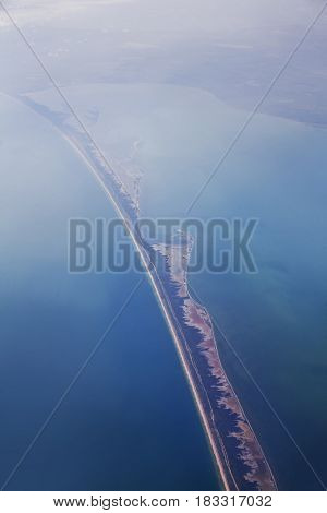 The Bakal Spit and Black sea. Aerial view