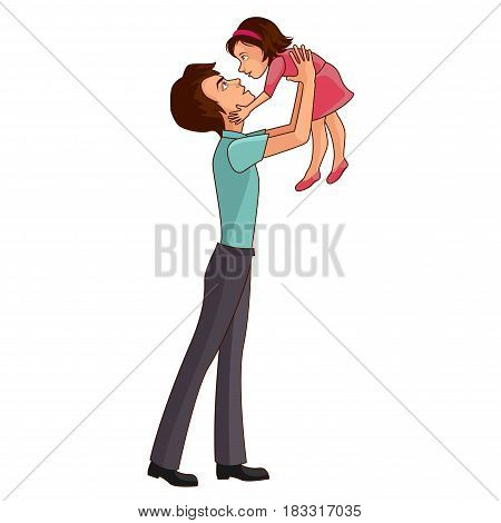 Father throwing up his daughter on a white background