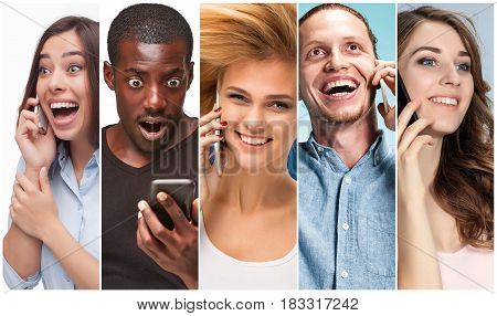 The collage from images of multiethnic group of happy young women and men using their phones.The different human emotion face expressions