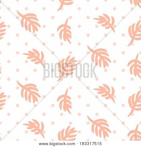 Pink palm leaves on polka dot white seamless vector pattern. Girlish tender pastel color texture for textile, apparel and wallpaper.