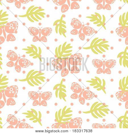Pink palm leaves and butterflies seamless vector pattern. Girlish tender pastel color dotted texture for textile, apparel and wallpaper.