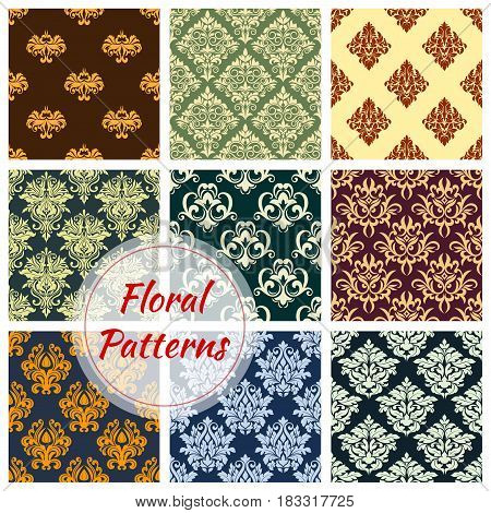 Floral seamless pattern background set. Damask floral ornament of victorian flourishes with ornate flower and leaf arabesque motif. Vintage interior embellishment, wallpaper and textile design