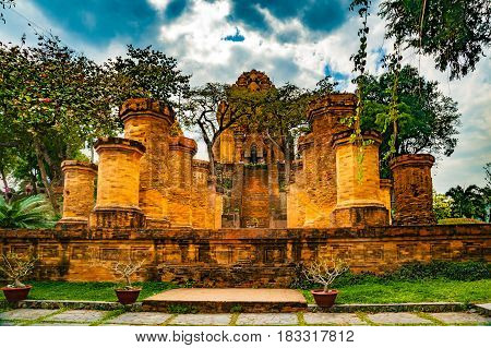 The towers of Po Nagar near Nha Trang in Vietnam. Towers were built by the Cham civilization