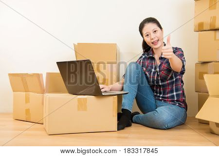 Woman Thumbs Up With Computer