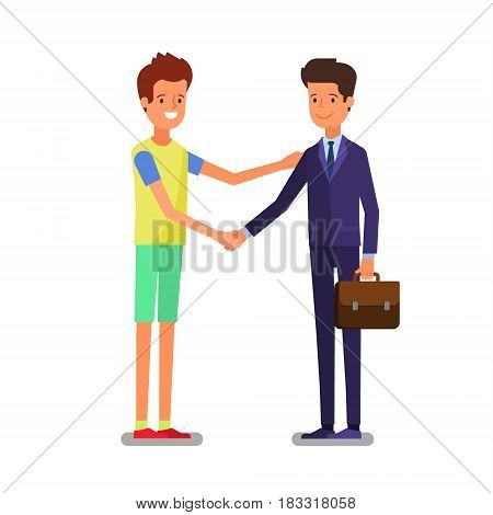 Cartoon business people handshake for dealing success. Flat design, vector illustration.