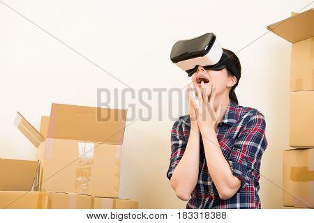 Woman Feel Surprised Of Vr Headset