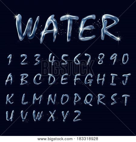 Pure Water Alphabets And Numbers Collection