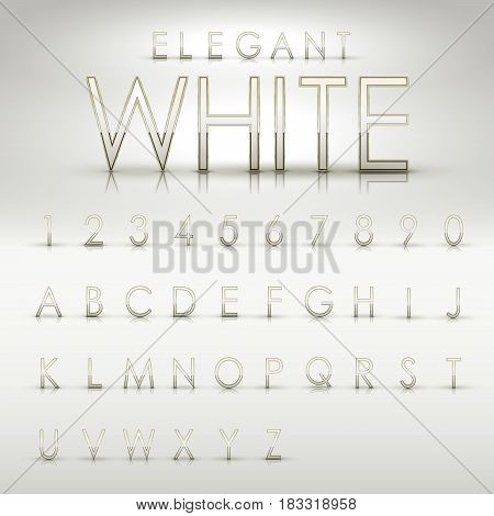 Elegant White Alphabets And Numbers Collection