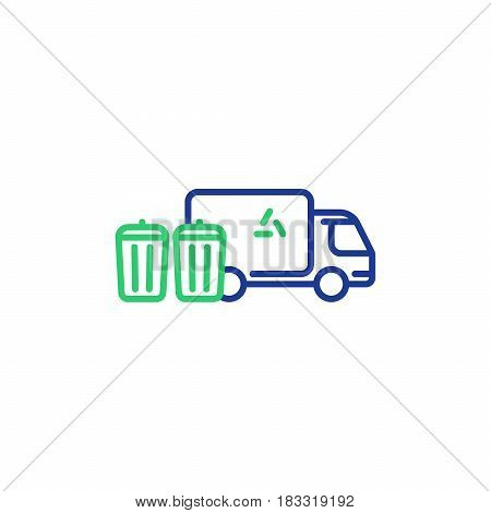 Garbage collector services, waste transportation truck, rubbish bins, dump vehicle, vector mono line icon poster