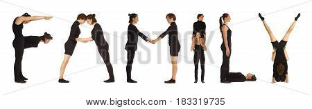 Black dressed people forming word FAMILY on white background