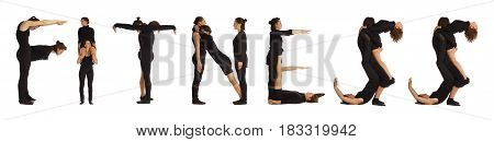 Black dressed people forming word FITNESS on white background