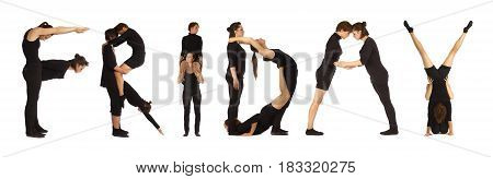 Black dressed people forming word FRIDAY on white background