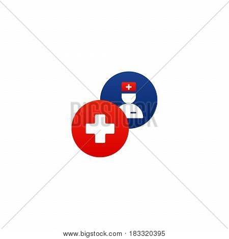 Health care and medicine services round icon and logo, doctor consulting. Flat design elements vector illustration
