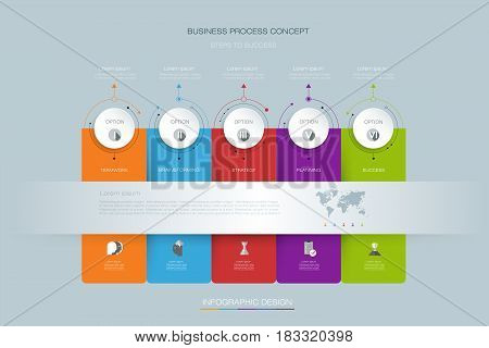 Vector infographics timeline design template with 3D paper label integrated circles background. Can be used for content, business, process, infographics, diagram, chart, digital network, flowchart, process diagram, time line