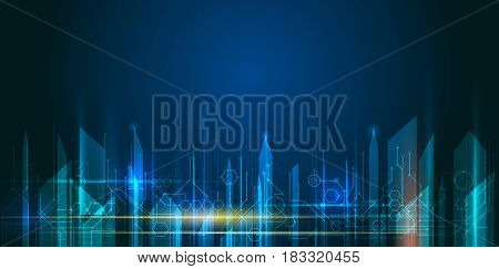 Vector Abstract science futuristic energy technology. Image of circuit board and arrow sign, light rays, stripes lines with blue light speed movement. Hi-tech digital technology concept