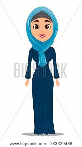 Arabic woman standing straight. Businesswoman cartoon character. Stock vector