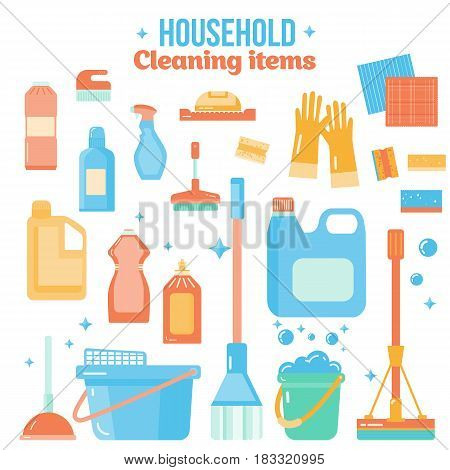 Vector cleaning items in flat style with spray bottle, bucket, mop and household supplies. Sanitary and desinfection.