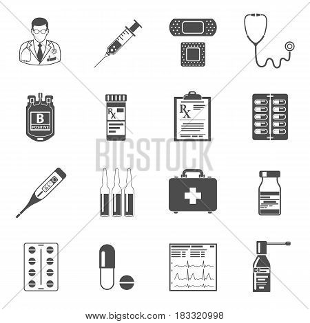 Set of medical and healthcare icons like Doctor, Health treatment, blood transfusion, cardiogram, prescription. isolated vector illustration