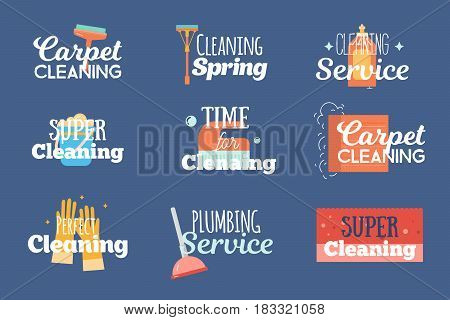 Modern cleaning and plumbing services labels, logos, badges set with wash, sponge household concept vector illustration.